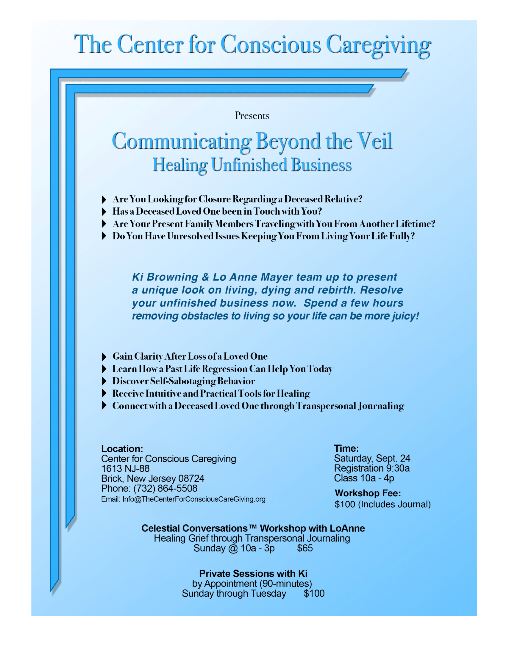 Flyer for Class - Communicating Beyond the Veil, Healing Unfinished Business - 24 Sep 2016